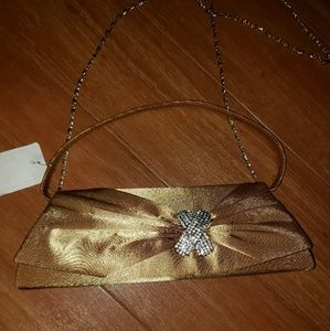 Gold Satin Shimmer Evening Bag